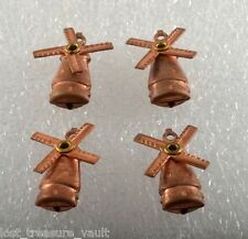 Vintage Set of 4 Wind Mill Moving Blades Copper STamping Pendant Jewelry Making