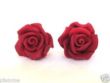 Deep Red Rose Flower Fimo Clay Earrings