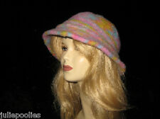 Felted Corriedale Hat with Bell Brim Knit Pattern by Linda Wish