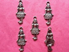 Tibetan Silver Girl Charms pack of 5 - Oz and Alice themes