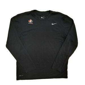 Nike Olympic Canada Hockey Loose Dri Fit Long Sleeve T Shirt Mens Large Black