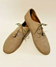 VINCE. Khaki Perforated Leather Lace-Up Flat Shoes Sz 8.5 Made in Italy EUR 39.5