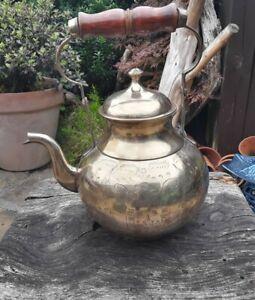 Large Vintage Brass Teapot Kettle Etched Engraved Floral