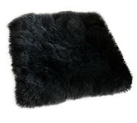 "2X Sheepskin Long Wool Car Seat Breathable Warm Soft Covers Chair cushion 18x18"""