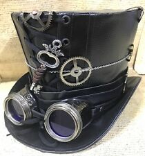 Lo Steampunk BlackLeather LOOK TOP HAT CON LENTE BLU GOGGLE & CHIAVE Taglia 60 & 61cm