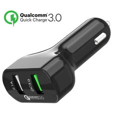 Car Charger Quick Charge 3.0 + 2.1A Port 28W Dual USB Fast Charging [Black]