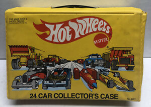 Mattel 1983 Hot Wheels Yellow 24 Car Collector's CASE ONLY Used Both Trays