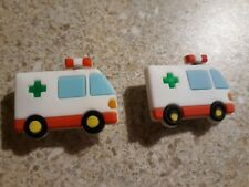 Lot of 2 Ambulance shoe charms for Crocs shoes. Other uses are Craft, Scrapbook