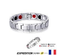 Bracelet magnétique Gris Thérapeutique énergétique Guérison Bijoux Thérapie V2