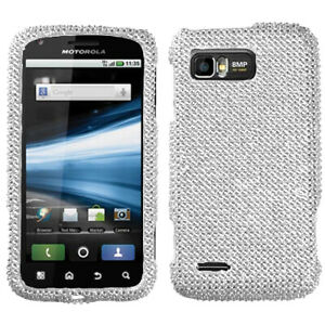 For AT&T Motorola Atrix 2 Crystal Diamond BLING Case Phone Cover Silver