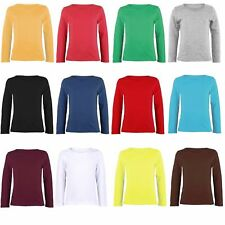 Kids Plain Top Girls Long Sleeve Tee T Shirt Stretch Fit Teen New Age 2-14 Years