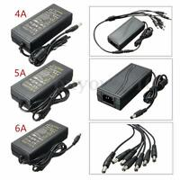 DC12V 4A 5A 6A Power Supply Adapter + 8 Split Cable For CCTV Security Camera DVR