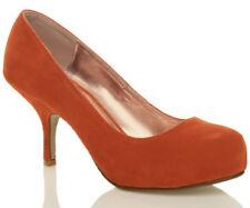 Womens Mid Heel Casual Smart Work Pump Ladies Court Shoes Size 3-8 Orange Suede 38 UK 5