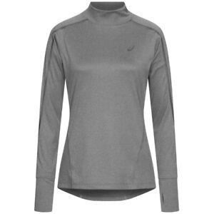 ASICS Lite-Show Women Fitness Running Shirt With Collar 124777-0773 Grey New