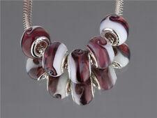 5pcs Silver MURANO GLASS BEAD LAMPWORK fit European Charm Bracelet/A76