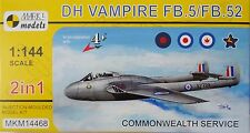 DH Vampire FB.5/FB.52 'Commonwealth Service', 2 IN 1, Mark I, 1:144, Plastik NEU