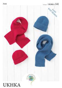 UKHKA 141 Easy Aran Knitting Pattern Hats & Scarves 4 - 12 Years Kids Boys Girls