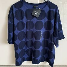 NEW & Rare Marimekko x Uniqlo Boxy Tshirt Top Blue Circles Medium