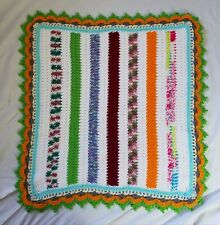 """Handmade Crocheted Afghan Baby Doll Blanket Approx. 34"""" x 33"""" Multi Color"""
