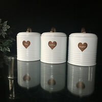 Retro Vintage white enamel Tea Coffee Sugar canisters jars Set copper heart jars
