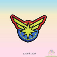 Captain Marvel Logo Super Hero Movie Embroidered Iron On Sew On Patch Badge