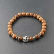 Fashion Men's Woman 8MM Multilayer Wooden Beaded Silver Owl Stretch Bracelet