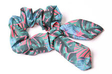Fuschia Pink Scrunchie w Wired Bow&Green Monstera Exotic Plants Print New (S622)