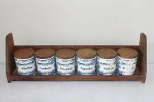 Vintage German Set of 6 Kitchen Plastic Spice Jars With Wooden Holder 1960's