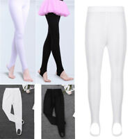 Kids Girl Stretch Stirrup Tights Pants Leotard Dance for Ballet Gymnastics 4-14Y
