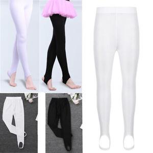 Kids Girl Stretch Stirrup Tights Pants Leotard Dance for Ballet Gymnastics 4-14Y