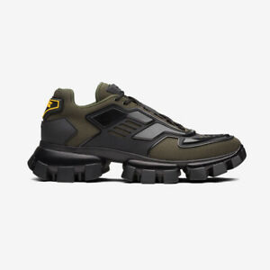 Prada Cloudbust Thunder Knit Sneakers - Military Green and Black - REDUCED