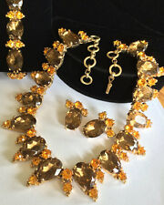 Vintage Schiaparelli Necklace Bracelet & Earrings Set~Topaz/Amber RS/Gold Tone