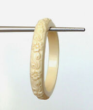 "Small Fit Vintage Ivory Lucite Floral Carved 2 3/8"" Inner Diam Bangle Bracelet"