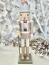 Christmas Wooden Blush Pink Traditional Nutcracker Soldier NEW