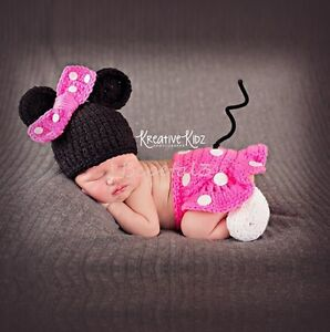 Newborn Baby Girl Minnie Crochet Knit Costume Photo Photography Prop Outfits