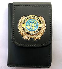 Portafoglio con Placca O.N.U. UNITED NATIONS in pelle