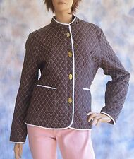 Vtg Classic CAROLE LITTLE Quilted Jacket Brown w. White Trim  Standup Collar