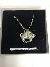 Bull PP-SS06 Emblem Silver Platinum Plated Necklace 18""