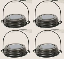Set Lot of  4 Rustic Brown Mason Canning Fruit Jar HANGING LED SOLAR LID LIGHTS