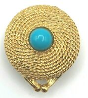 """Estee Lauder """"Golden Rope"""" Solid Perfume Compact 1971 Turquoise Cobochon"""
