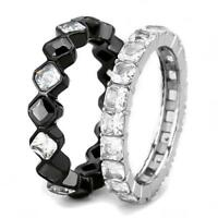 rt1 BANDS FULL ETERNITY RING SIMULATED DIAMOND STAINLESS STEEL SET PRINCESS SZ N