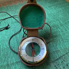 Barigo Vintage Brass Compass With Leather Carrying Case GERMANY excellent