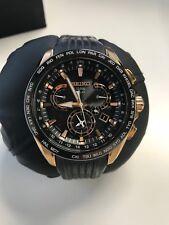 Seiko Astron GPS Solar Rose Gold Finish dual time zone watch