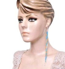 Long Fashion Earrings 7.5 Inch 53/15 Native Style Blue Handcrafted Beaded Extra