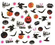 Nail art autocollants stickers ongles: Décorations Halloween citrouilles dents