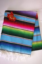 Mexican Serape blanket Multi-colored, white Fringe XL Made in Mexico Folk