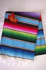 Mexican Serape Saltillo Blanket Light Blue Multicolor Southwest Aztec XLARGE