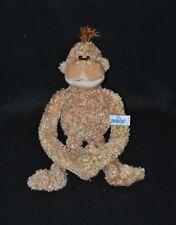 Peluche doudou singe NICI marron brun beige mains scratchées 25 cm NEUF