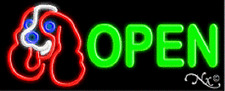 "Brand New ""Open"" 32x13 W/Pet Logo Real Neon Sign w/Custom Options 10600"