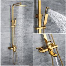 "Brass Gold Shower Fixture Exposed Valve System W/8"" Rainfall Head Faucet Set"